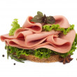 Sandwich with sausage, greens and basil leaf — Stock Photo #26476483