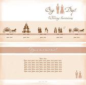 Wedding invations, vintage  — Stock Vector