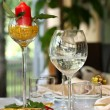 Restaurant table with glasses and candle — Stock Photo #16234051