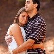 Young Couple In Love Share Sweet Embrace — Stock Photo
