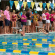 Постер, плакат: Junior Female Swimmers Ready To Start Backstroke Race
