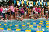 Junior Female Swimmers Ready To Start Backstroke Race — Stock Photo