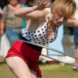 Circus Performer Works Hula Hoop At Outdoor Festival — Stock Photo