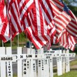 Stock Photo: War Dead Honored With Crosses By Highway For Memorial Day