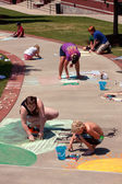 Draw Sidewalk Chalk Art At Festival — Stock Photo