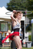 Circus Performer Does Hula Hoop At Spring Festival — Stock Photo