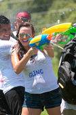 Squirt Others And Get Squirted In Water Gun Fight — Stock Photo