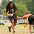 Female Flag Football Player Avoids Defender — Stok Fotoğraf #15326629