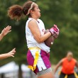 Female Flag Football Player Catches Pass — Stock Photo