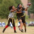 Stock Photo: Female Flag Football Receiver Catches Pass