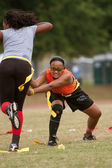 Woman Practices Flag Football Techniques — Stock Photo
