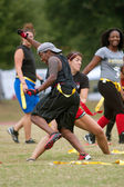 Young Women Collide Practicing Flag Football — Stock Photo