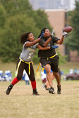Female Flag Football Receiver Catches Pass — Stock Photo