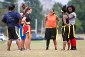 Female Flag Football Players Prepare For Next Play — Stock Photo