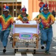 Stock Photo: Team Races Mattress On Wheels In Fundraiser Event