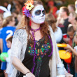 Hippie Zombie Rides Bike In Halloween Parade — Stock Photo #17661611