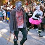 Male Zombie Walks In Halloween Parade — Stock Photo