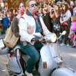 Zombie Couple Rides Scooter In Halloween Parade — Stock Photo