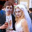 Zombie Bride And Groom Enjoy A Cold Beer — Stock Photo #17662833