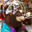 Zombie Fan Dancer Performs In Halloween Parade — Stock Photo #17663449