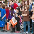 Kids Wait For Candy During Halloween Parade — Stock Photo