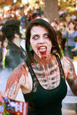Female Zombie Makes Scary Face in Halloween Parade — Stock Photo