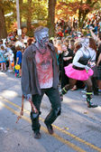 Male Zombie Walks In Halloween Parade — Stock Photo