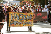 Women Carry Banner That Starts Halloween Parade — Stock Photo