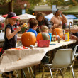 Families And Kids Carve and Paint Halloween Pumpkins — Stock Photo