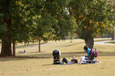 Young Parents Relax On Blanket In Park — Stock Photo
