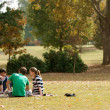 Stock Photo: Young Adults Sit On Blanket And Talk In Park