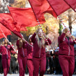 Stock Photo: High School Flag Corps Performs In AtlantChristmas Parade