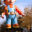 Inflated Construction Worker Balloon In Atlanta Christmas Parade — Stok fotoğraf
