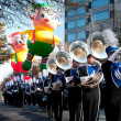 Marching Band Plays In Atlanta Christmas Parade - Stock Photo