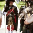 Stock Photo: Drum Major Prepares To Lead Bagpipes Group At Festival