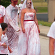 Bloody Zombie Bride Walks In Odd 5K Race — Stock Photo