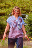 Blood Soaked Zombie Nurse Wanders Aimlessly At 5K Race — Stock Photo