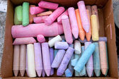 Box Of Colorful Chalk Being Used For Sidewalk Art — Stock Photo