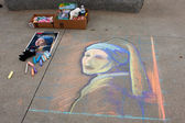 Chalk Portrait Covers Sidewalk At Atlanta Festival — Stock Photo