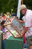 Man Releases Butterflies As Spectators Watch At Summer Festival — Stock Photo