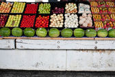 Fresh Fruit And Vegetables On Display At Farmers Market — Stock Photo