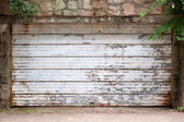 Vintage Garage Door Covered With Rust And Chipped Paint — Stock Photo