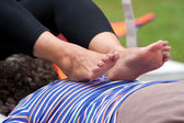 Woman Receives Ashiatsu Barefoot Massage At Summer Festival — Stock Photo
