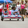 Father And Daughter Steer Unique Car In Soap Box Derby — Stock Photo