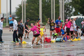 People Take Part In Huge Group Water Balloon Fight — Stock Photo