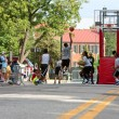 Teenage Boys Compete In Asphalt Basketball Tournament On City St — Stock Photo