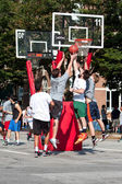 Men Jump While Fighting For Ball In Street Basketball Tournament — Stock Photo