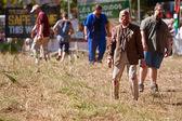 Elderly Male Zombie Waits To Terrorize Runners In 5K Race — Stock Photo