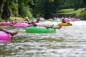 Dozens Of People Enjoy Tubing Down North Georgia River — Stock Photo