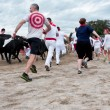 People Run With The Bulls At Unique Georgia Event — Stock Photo